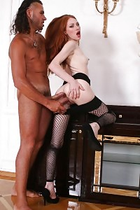 Brilliant Ginger Gags On A Great Hammer Dildo While A Thick Dick Goes Up Her Bunghole