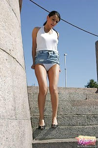 Denim Enjoying Amatur Has On White Cotton Panties Under The Short Skirt