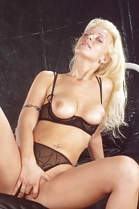 Big-tittied Blonde Peach Showcasing Her Attractive Lace Lingerie